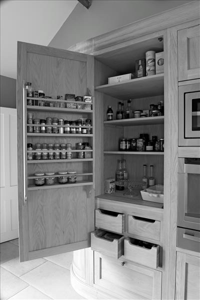 10 Inside the Neptune Henley larder – plenty of shelving and drawers plus a clever shelving solution for herbs and spices